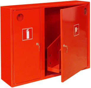 Оборудование противопожарной защиты. Пожарные рукава, огнетушители, пожарные шкафы, знаки пожарной безопасности.
